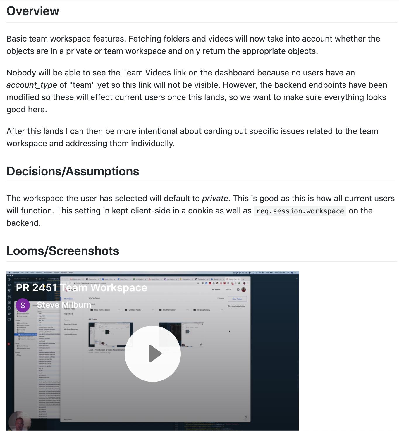 Loom in GitHub integration screenshot