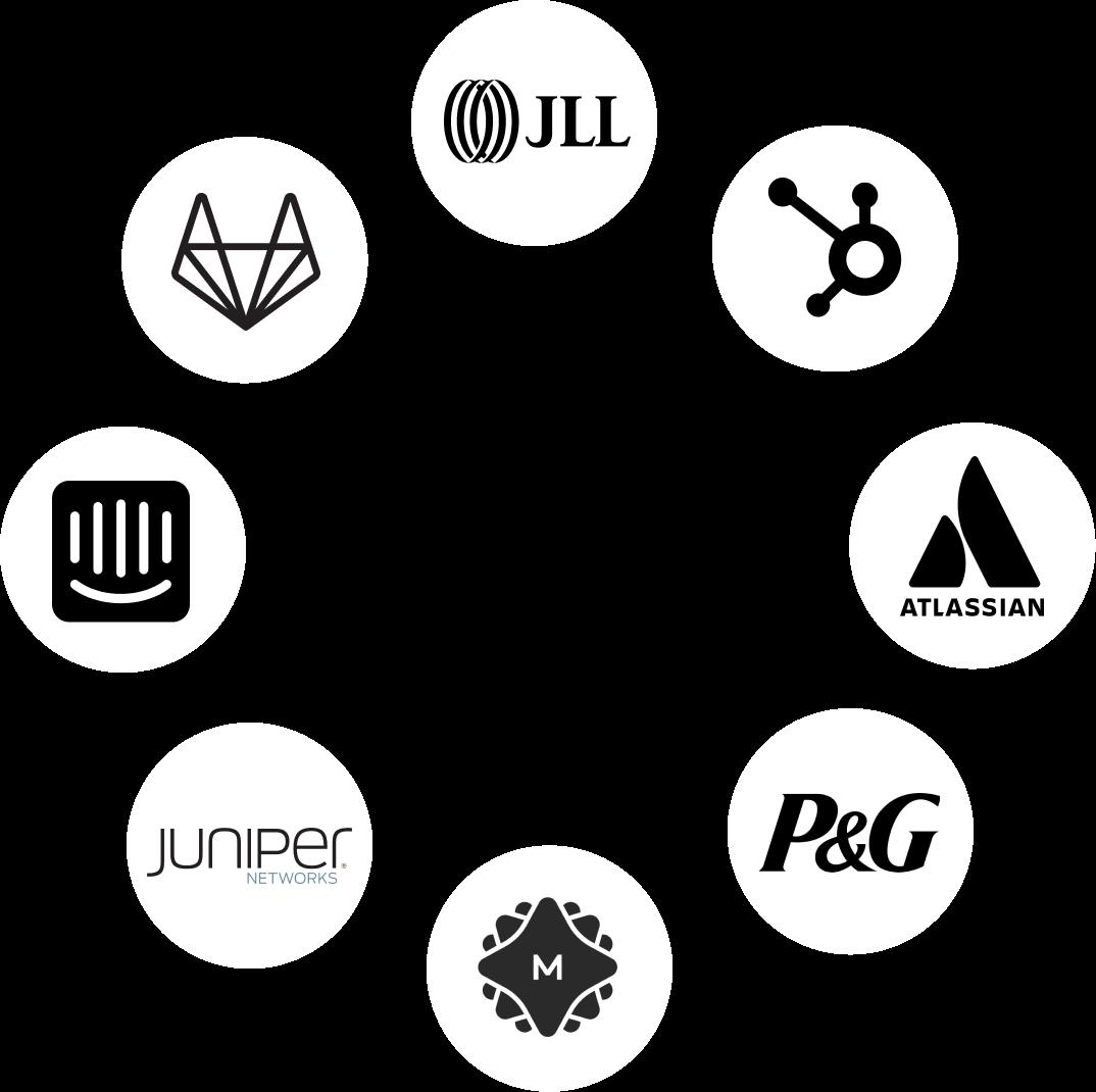 JLL, HubSpot, Atlassian, Procter and Gamble, MetaLab, Juniper Networks, Intercom, GitLab