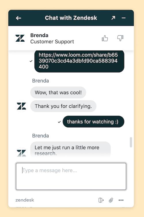Zendesk chat screenshot