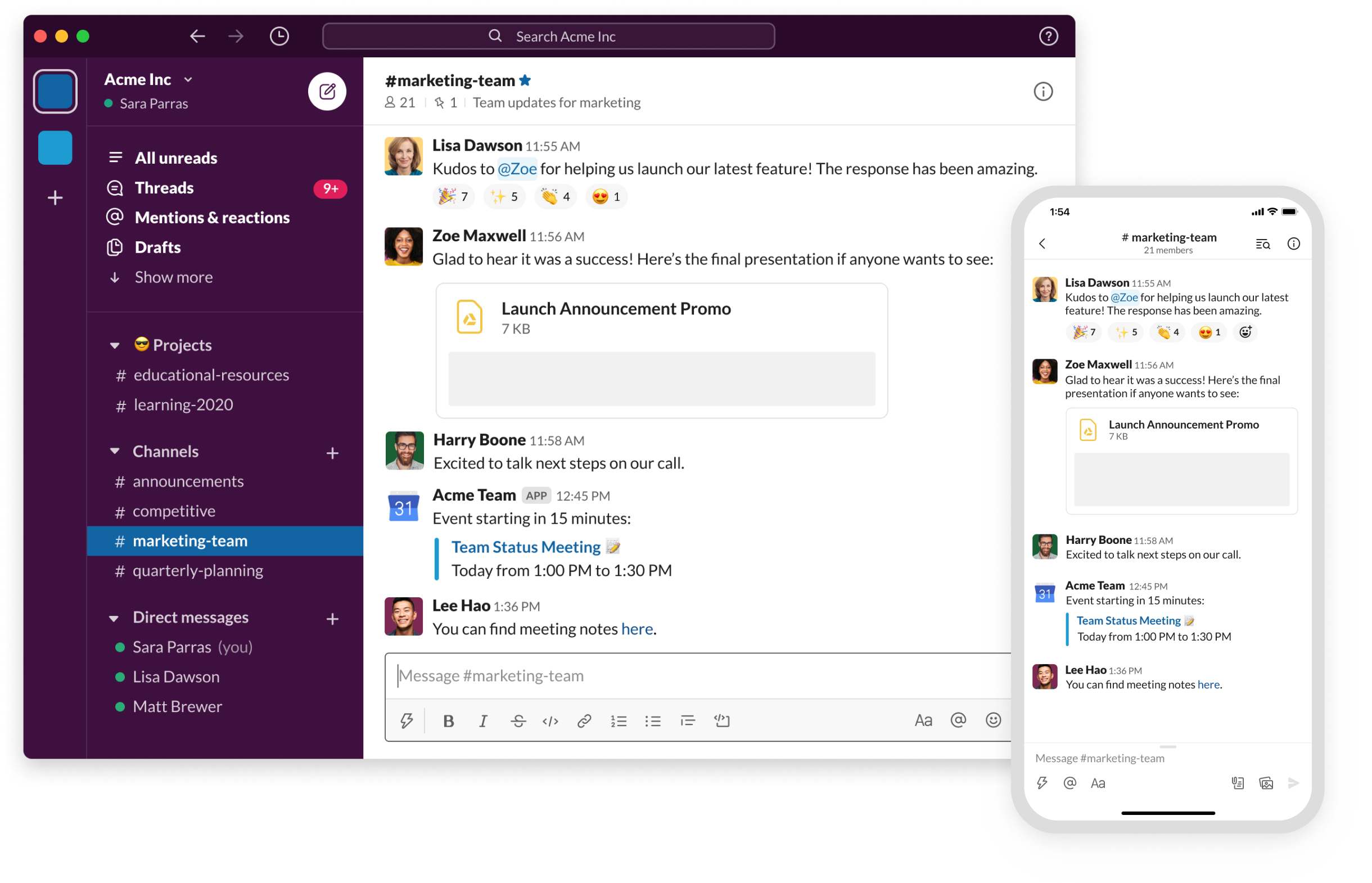 Slack interface