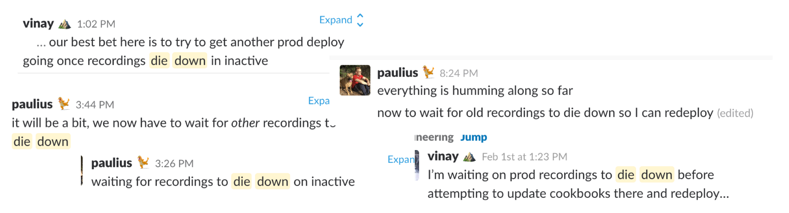 Slack messages about waiting for recordings