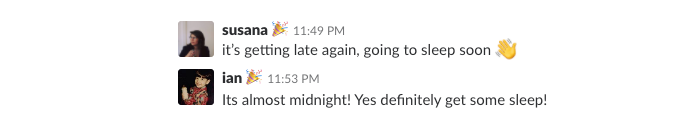 Slack messages signing out of work for the night