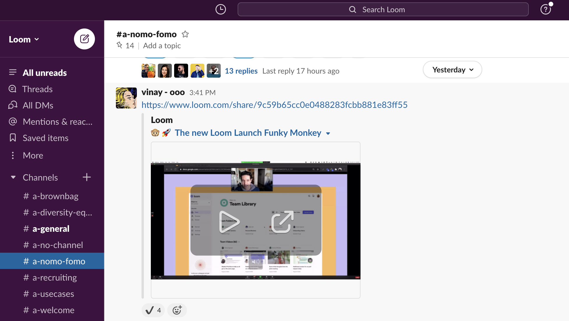 Screen shot Funky Monkey loom recording in Slack