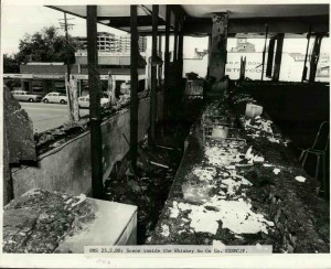 Inside the Whiskey nightclub after the firebombing, smoke damaged and incinerated