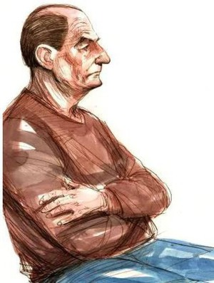 The courtroom artist impression of Vincent O'Dempsey on trial for murder. Photo/ News Corp Australia