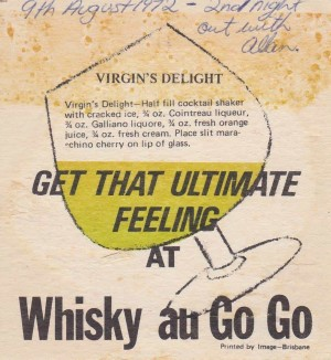Coaster from the Whiskey Au Go Go dated 1972