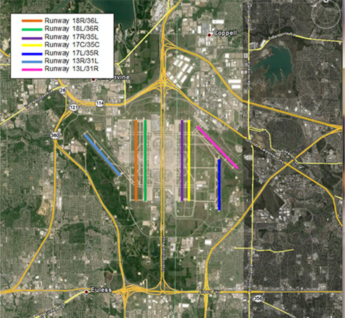 DFW Aircraft Noise Closures Map