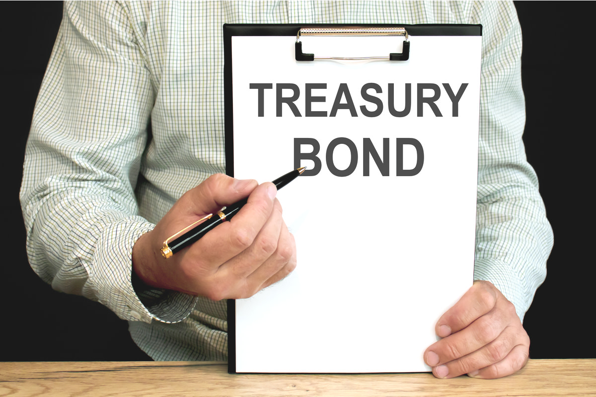 Treasury bonds word written on a piece of paper