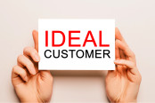 text IDEAL CUSTOMER on a yellow background