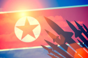 North Korea Flag with Missiles