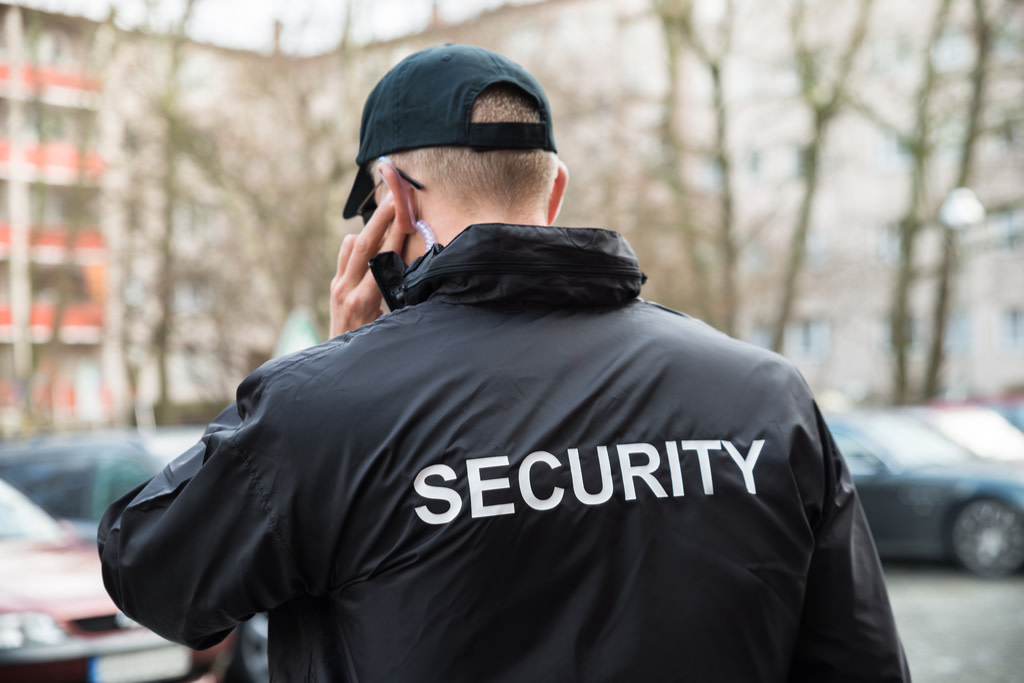 Security person communicating