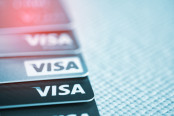 VISA credit cards on the table