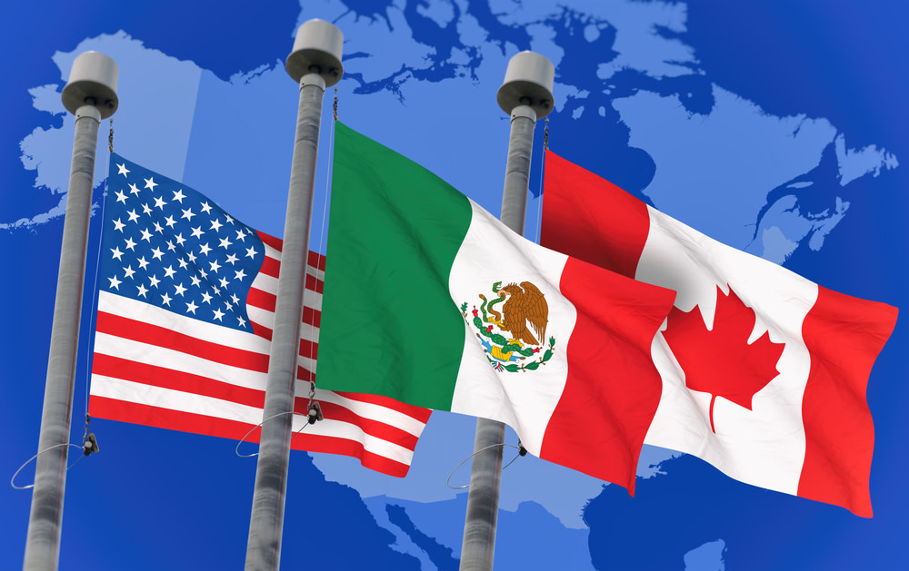 Flags of US, Mexico and Canada