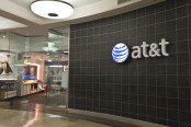 AT&T Inc logo on wall