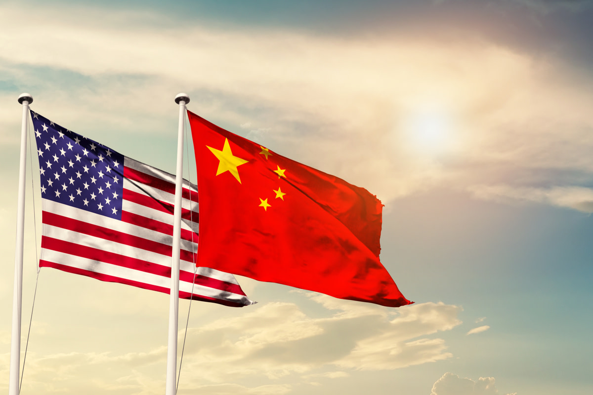 America and China flag waving