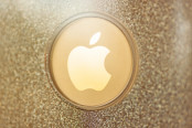 Apple Logo on Gold Phone