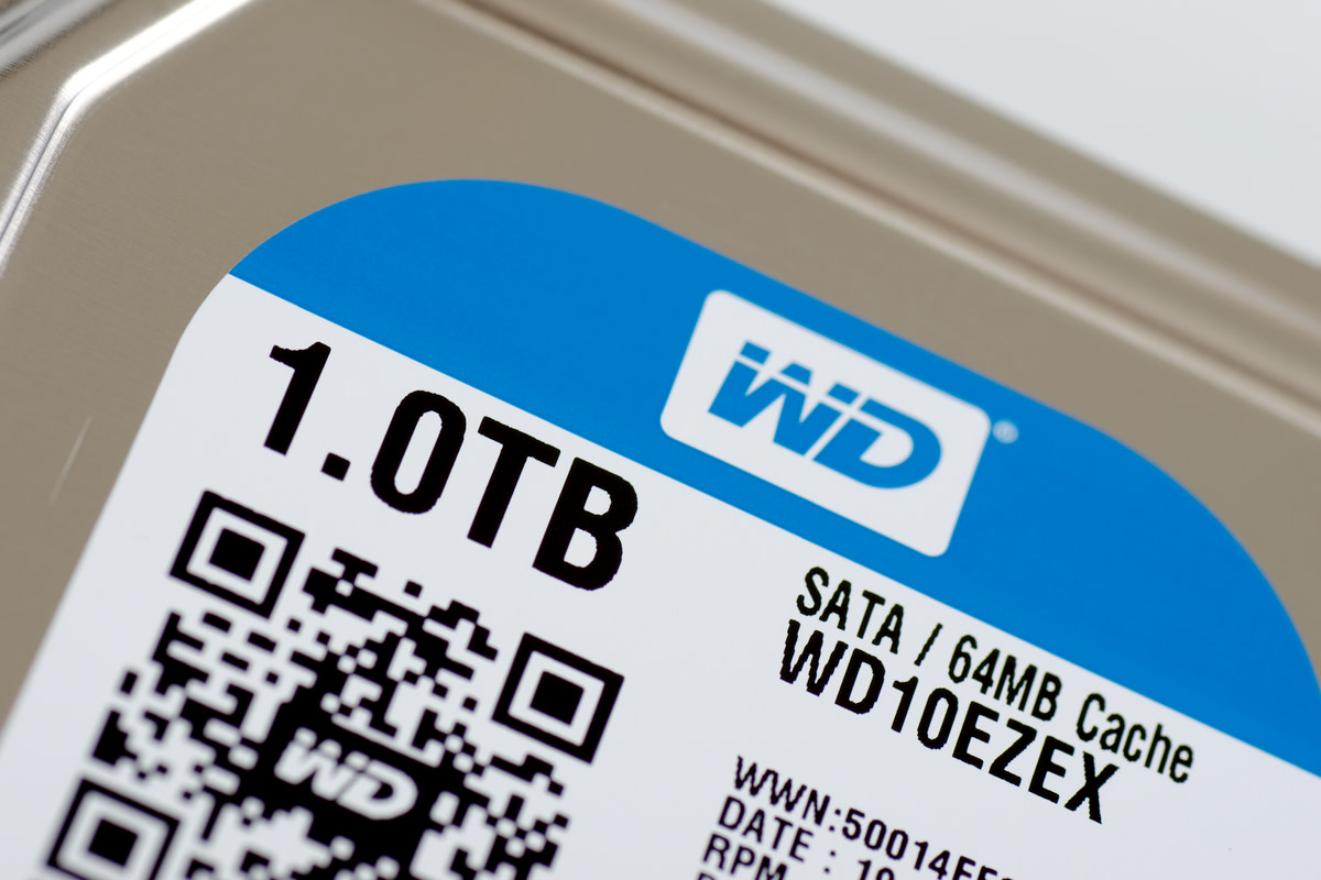 Western Digital HDD on white background