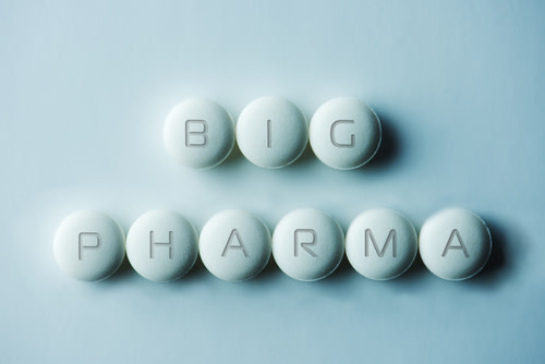 "Pills spelling out the word ""Big Pharma"""