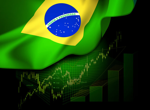 Market financial date below the flag of Brazil