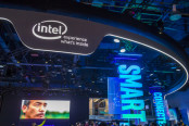 Intel logo used at a conference