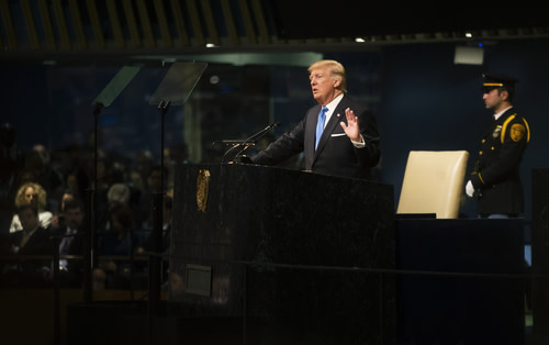 President Trump speaking at the United Nations