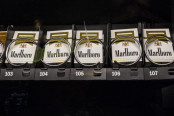 Marlboro cigarette packs in a vending machine