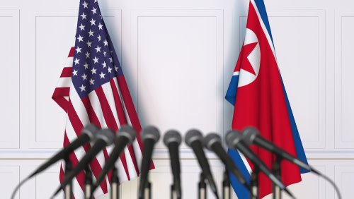 North Korea and US Flags