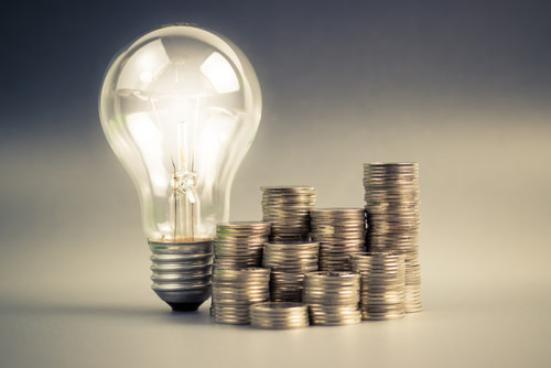 Electric Bulb with Piles of Coins
