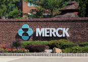 Merck logo on wall.