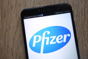 Pfizer logo displayed on smartphone