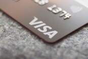 A Visa card close-up.