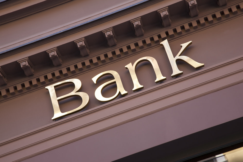 bank sign on the outside