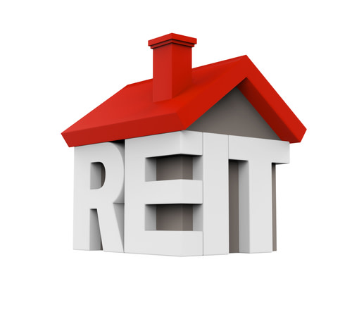 3D rendering of a house with the letters REIT