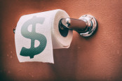 Toilet Paper with Dollar sign on