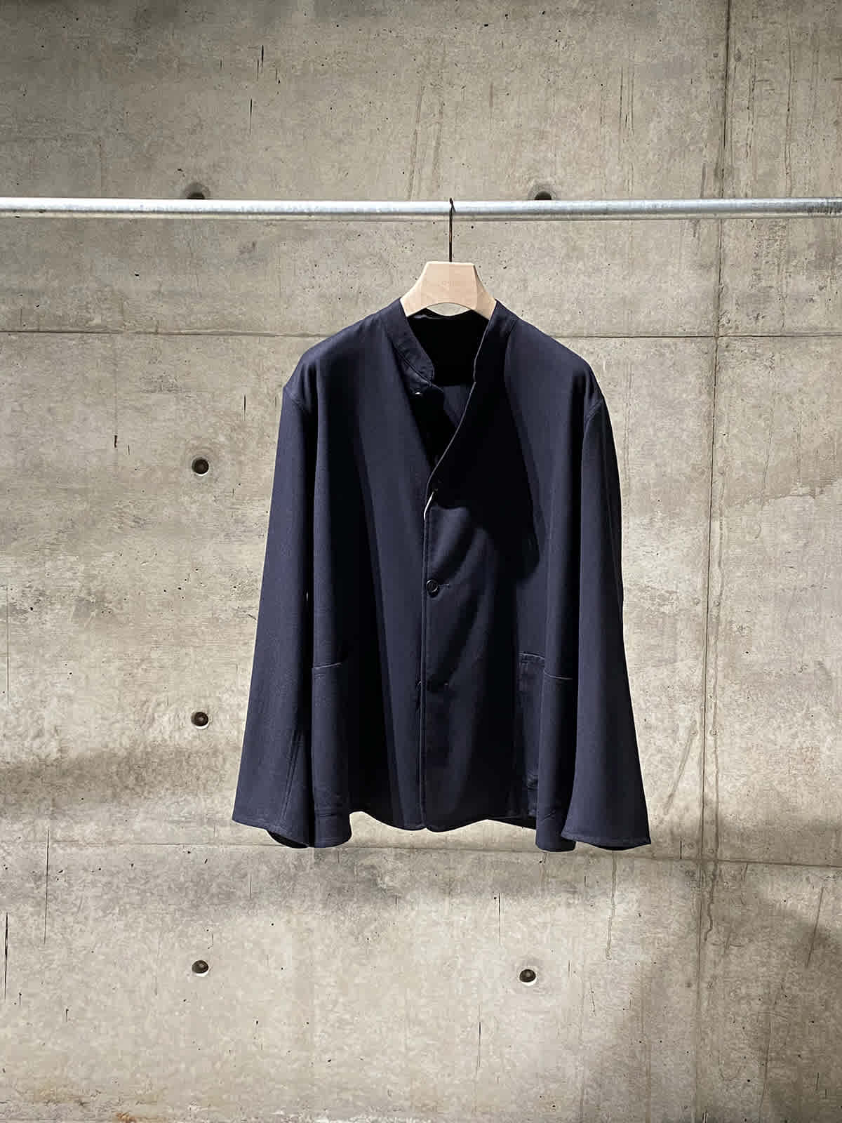 wool flannel stand collar jacket 01