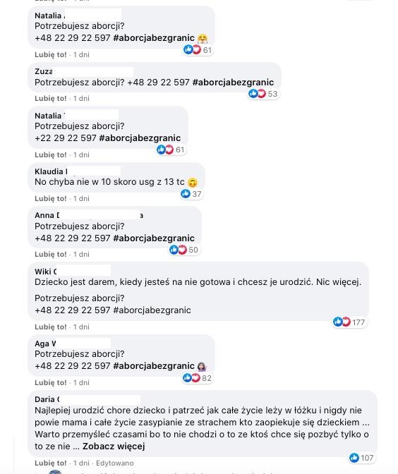 Komentarze pod postem Zofii Klepackiej informują o możliwości skorzystania z aborcji za granicą