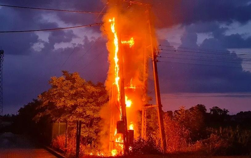 Po uderzeniu pioruna w Słubicach doszło do pożaru transformatora