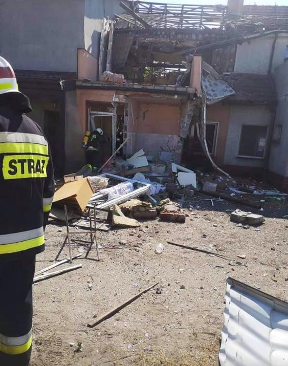 W wyniku wybuchu butli z gazem w Trębaczowie zawaliła się przednia ściana budynku
