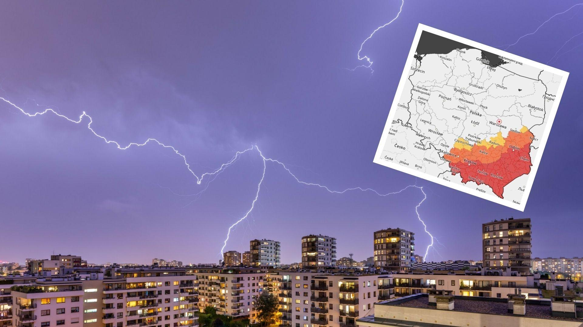 Ostrzeżenia III stopnia przed burzami. Wysłano również alert RCB