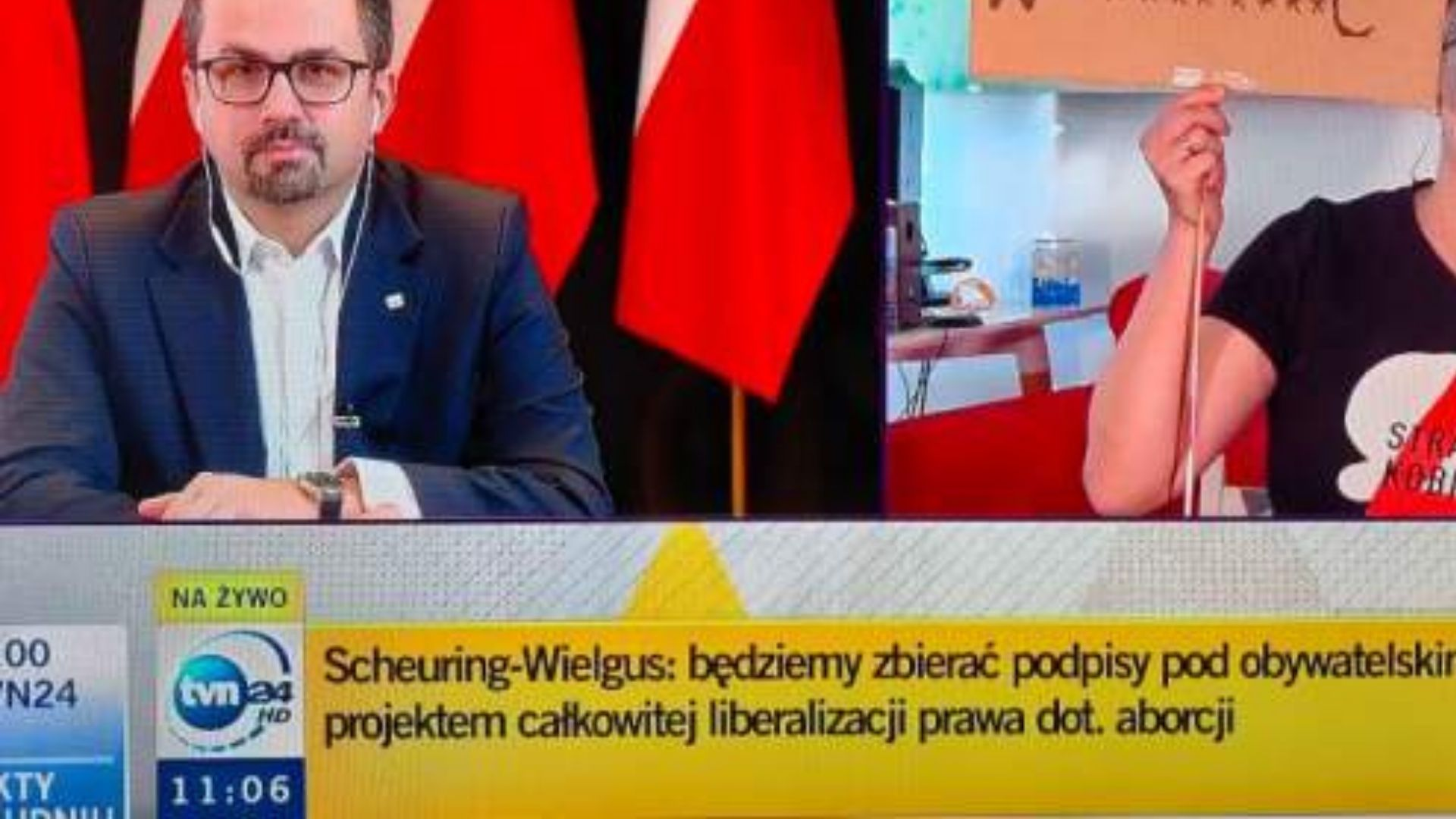 Goszcząca w TVN24 posłanka Lewicy pokazała, co myśli o decyzji Trybunału Konstytucyjnego.