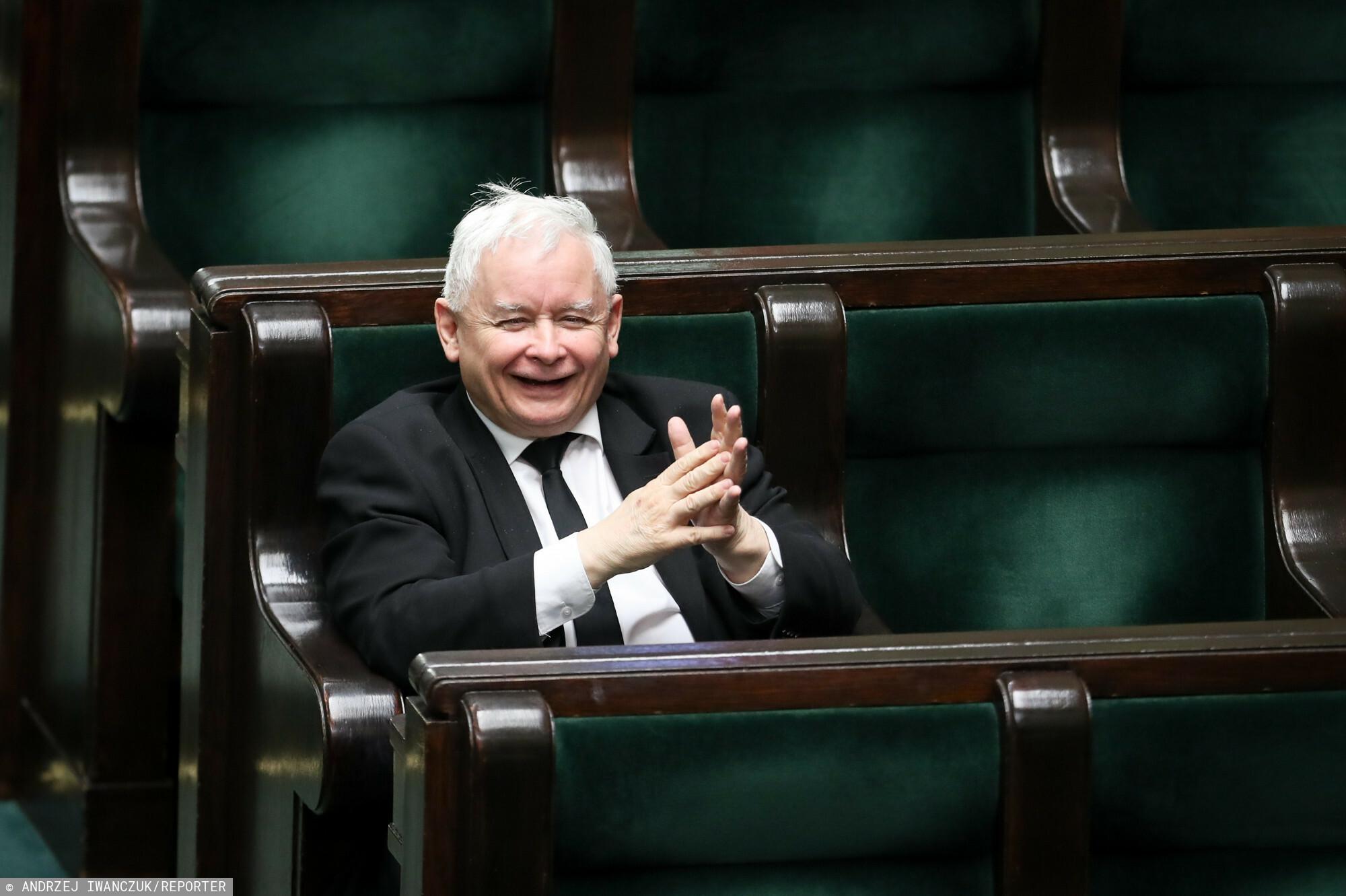 Prezes PiS Jarosław Kaczyński w trakcie obrad Sejmu.