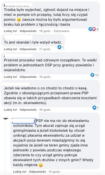 Komentarze pod wpisem KSRG OSP Zborowskie na Facebooku