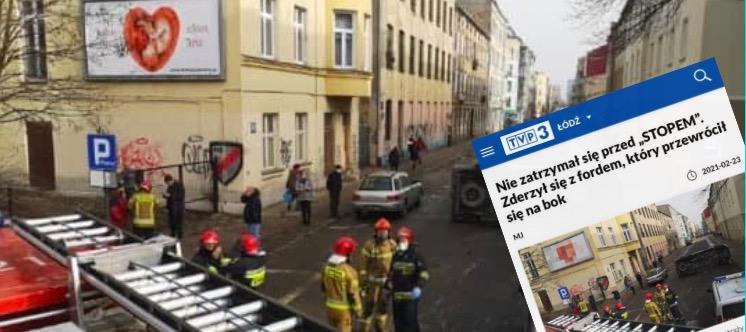 Na stronie TVP 3 Łódź pojawił się artykuł, gdzie zamazano plakat antyaborcyjny