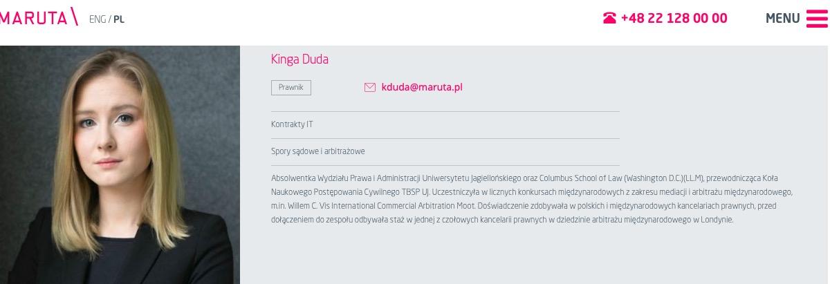 Biogram Kingi Dudy na stronie warszawskiej kancelarii