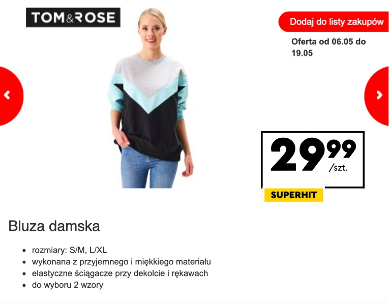 Modna bluza na promocji w Biedronce