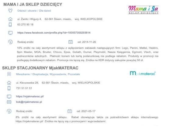 Przykładowe zniżki dla posiadaczy Karty Dużej Rodziny w Ślesinie (woj. wielkopolskie)