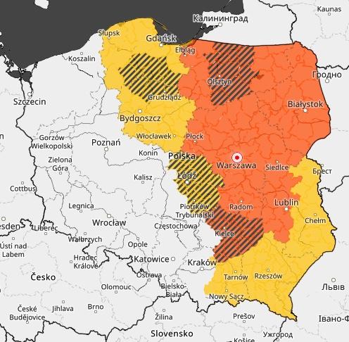 IMGW wydało ostrzeżenia II i I stopnia dla części kraju