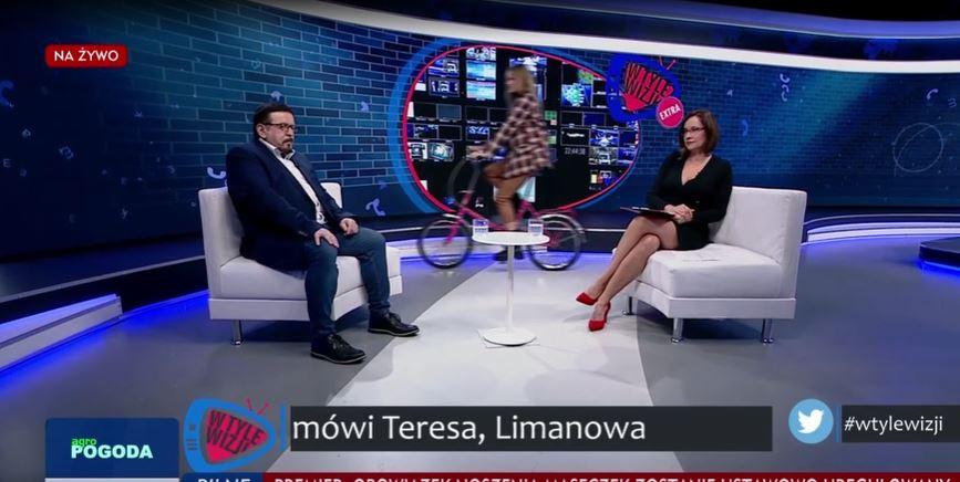 """W programie TVP Info niespodziewanie pojawił się rower i wzmianka o """"pe**łach""""."""