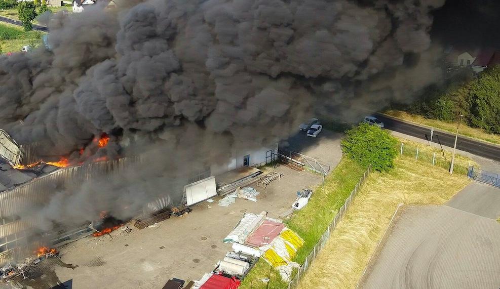 Pożar hali w Chorzowie