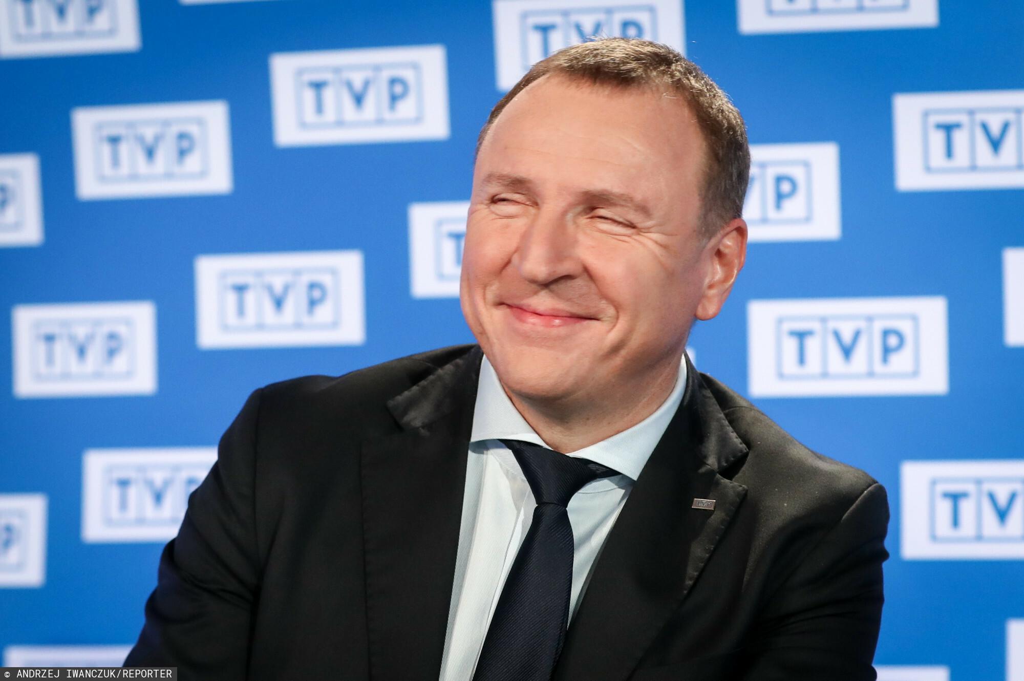 Jacek Kurski podczas briefingu prezesa zarządu TVP.